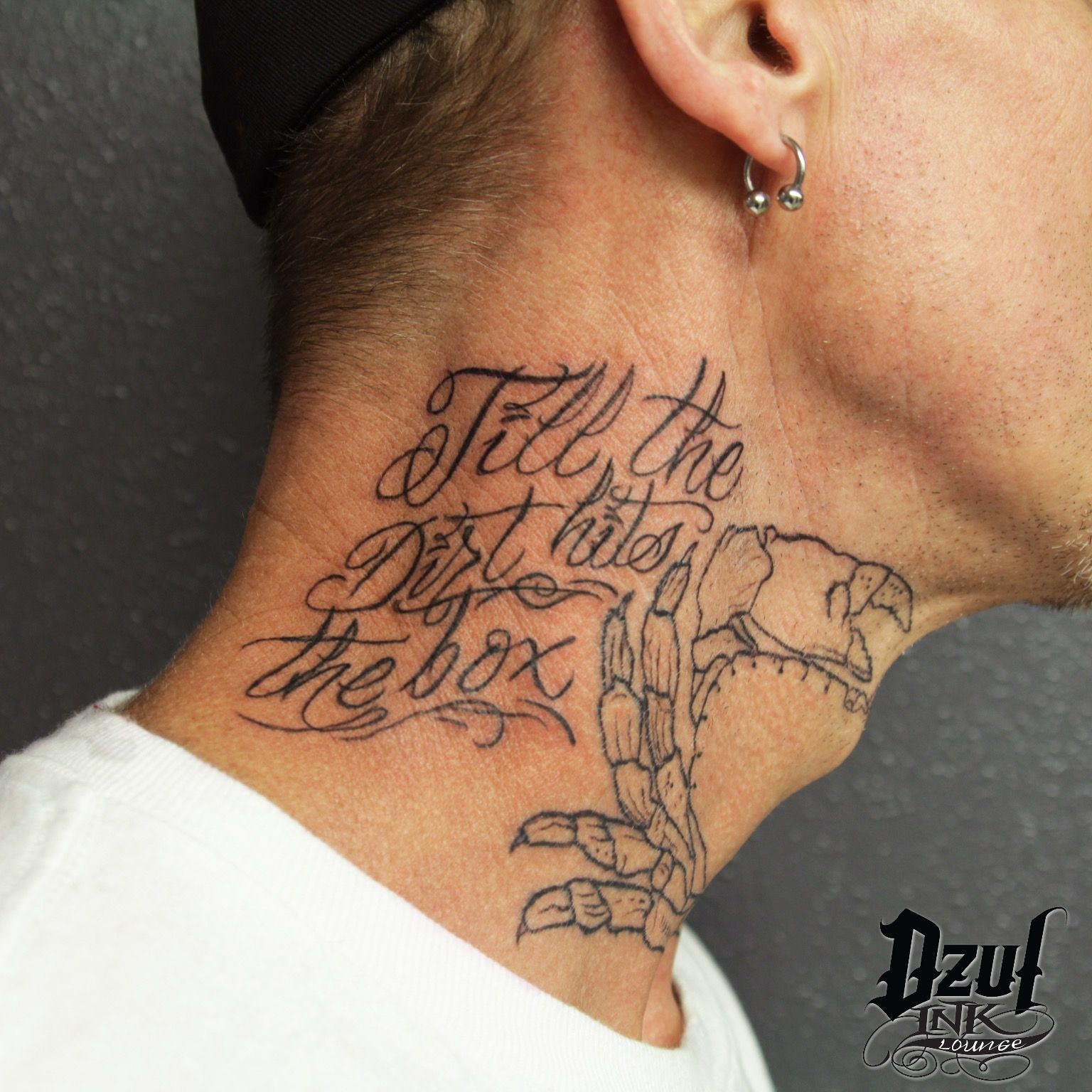 "Tattoo Quotes On Back Of Neck: ""Till The Dirt Hits The Box"" 🦀Neck Tattoo Progress By Alex"