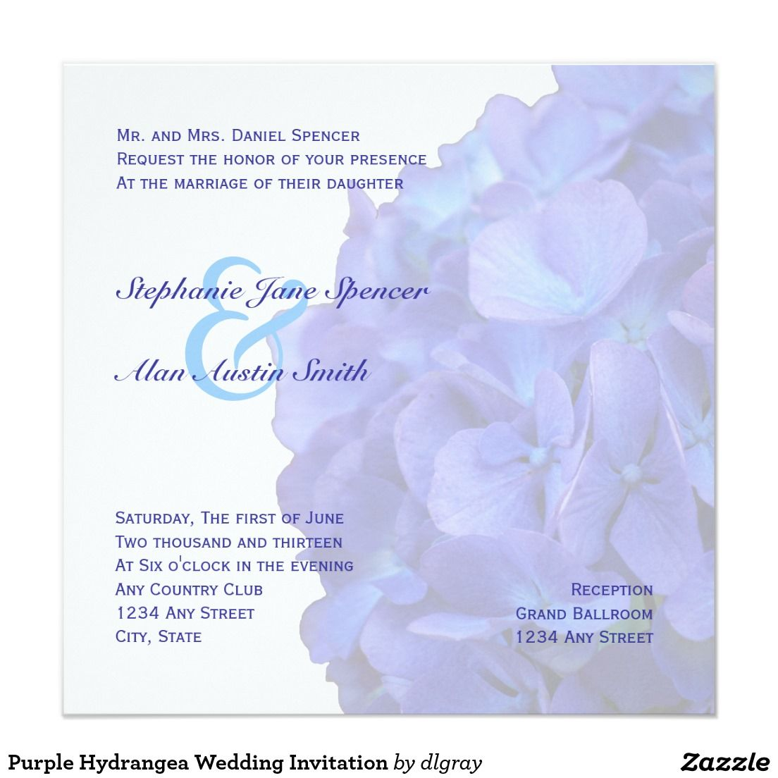 Purple hydrangea wedding invitation sample - Purple Hydrangea Wedding Invitation Sample 39