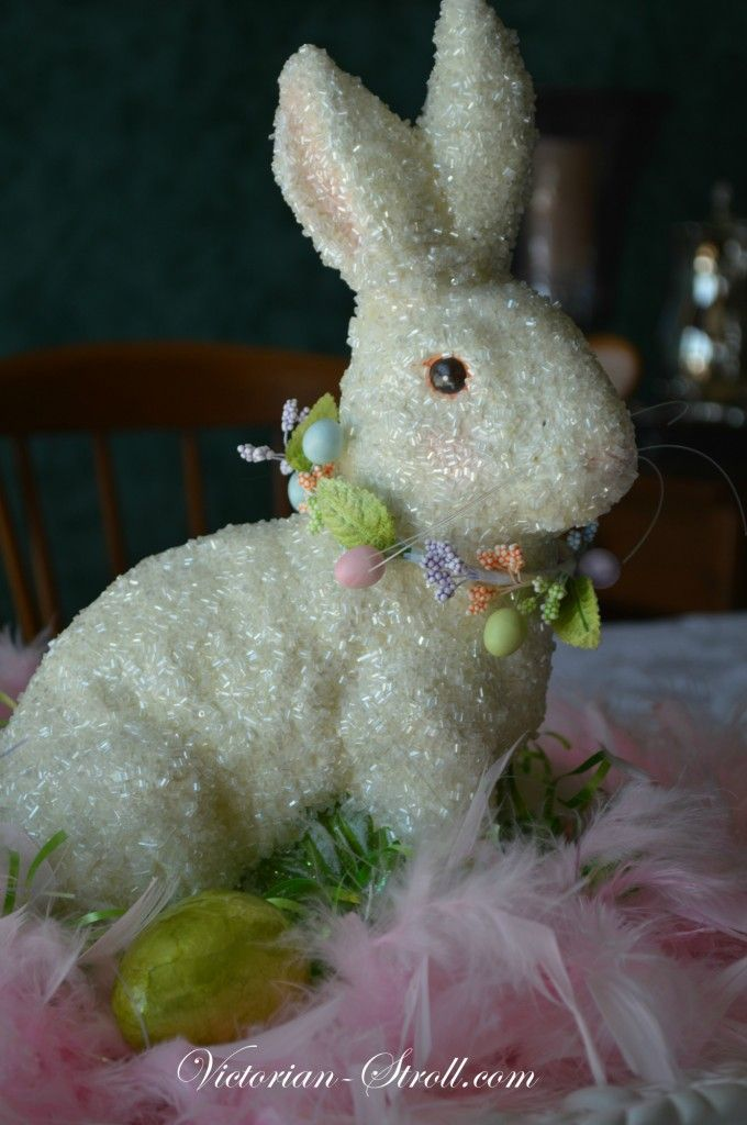 Easter Bunny centerpiece for kitchen table with pink boa.....Shabby Chic....