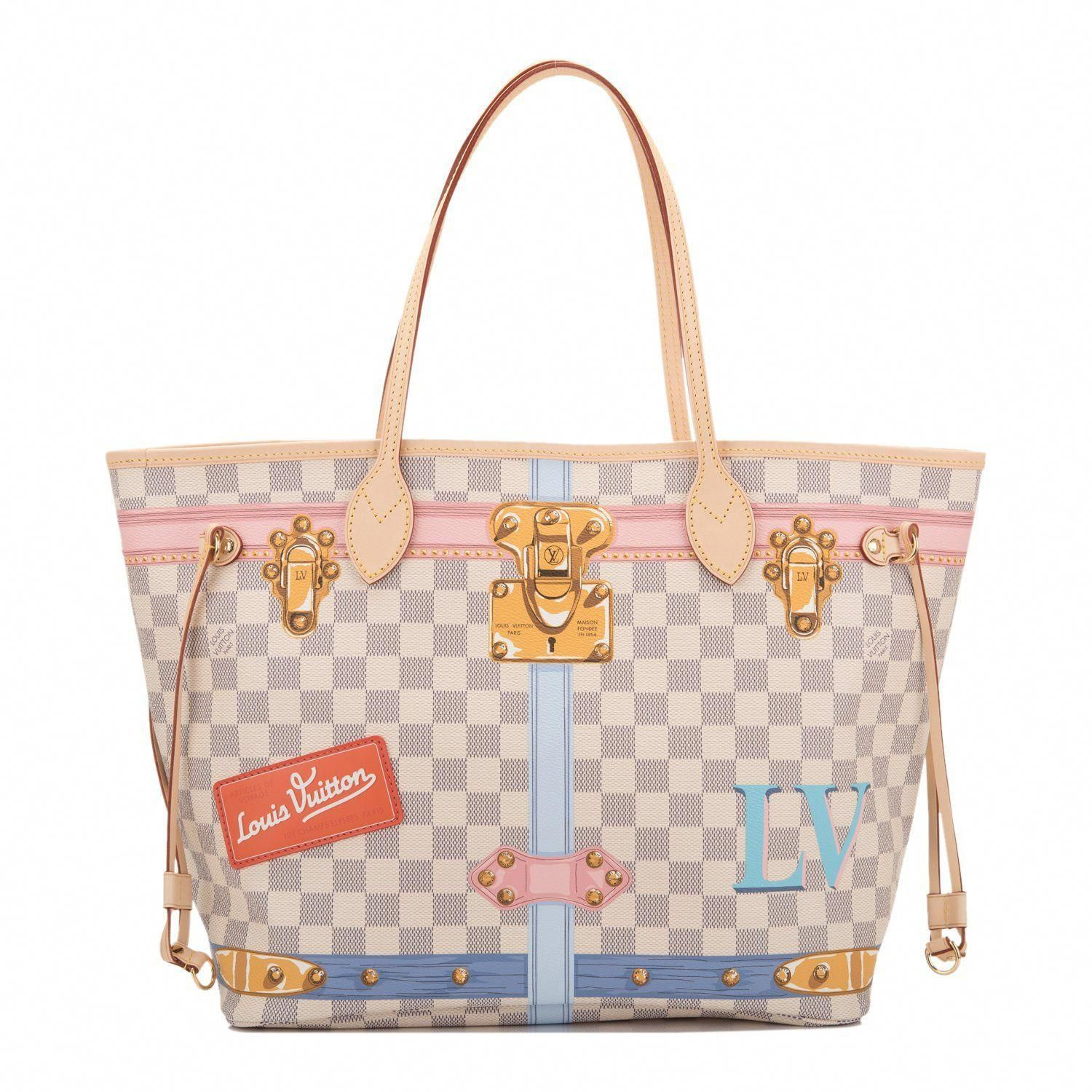1e3fa36f2ae6 Louis Vuitton Damier Azur Summer Trunk Neverfull MM tote of coated canvas  with vachetta leather trim