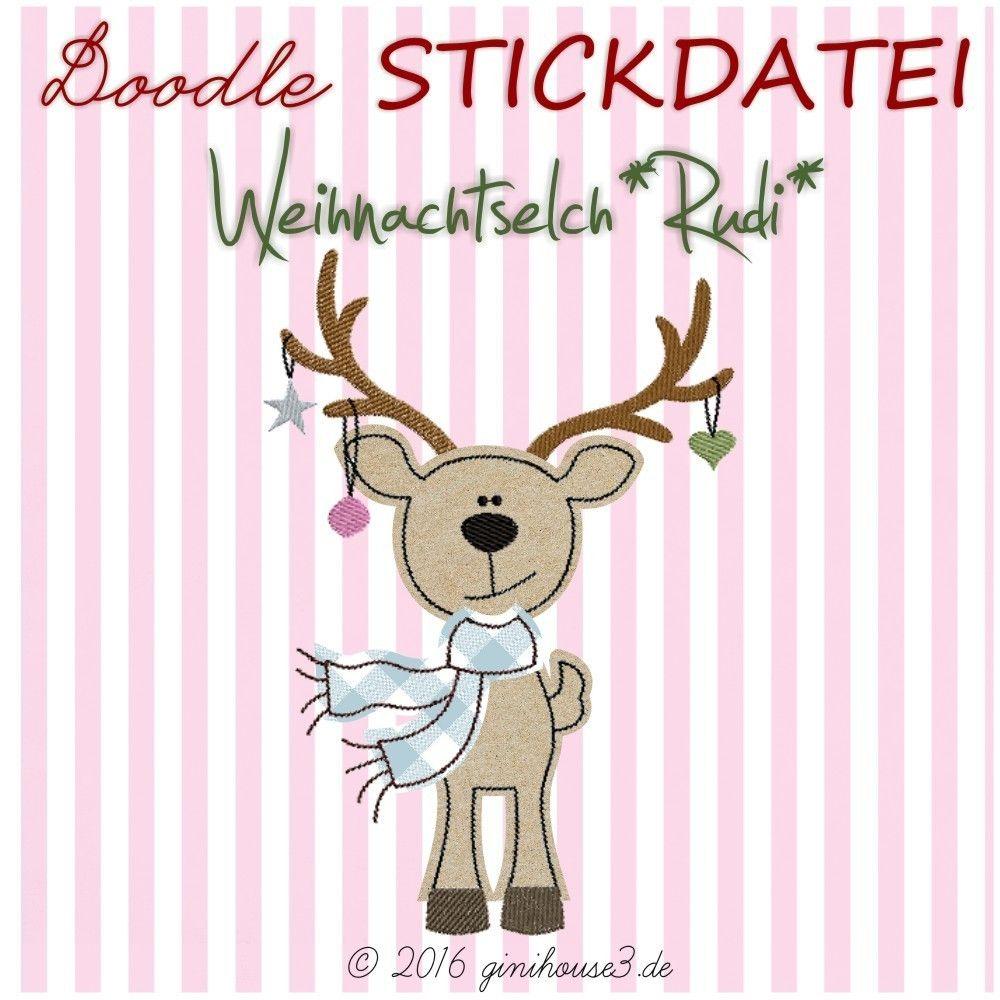 Stickdatei WeihnachtsElch RUDI * Doodle   Sticken   Pinterest ...