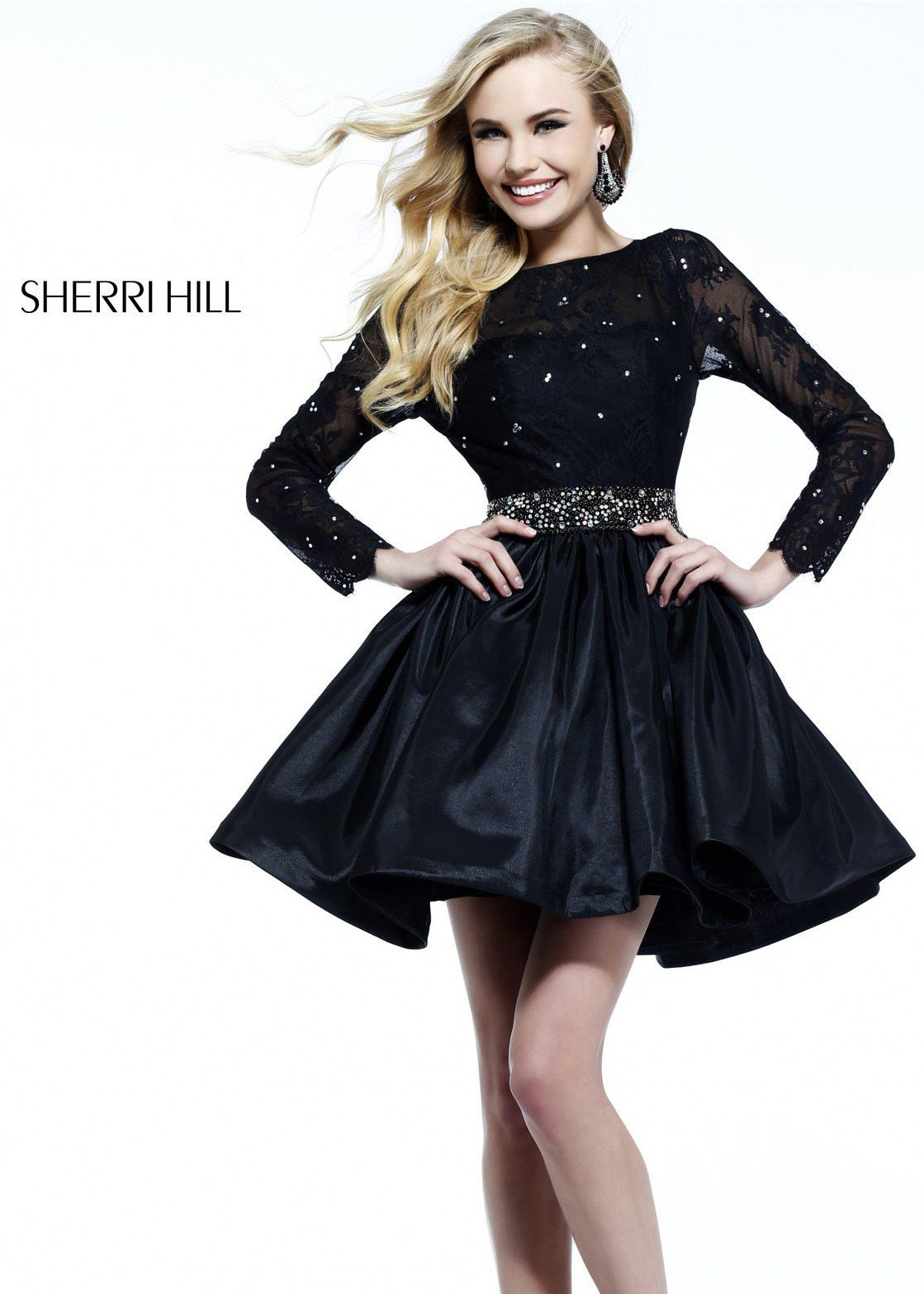 Sherri Hill 51078 Plunge V-Neck Lace Jersey Gown | Cocktail ...