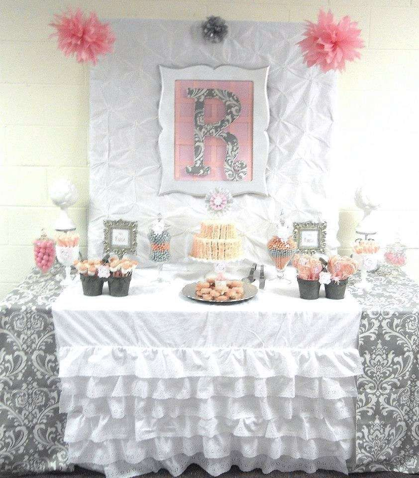Pink + Grey Damask Baby Shower Baby Shower Party Ideas | Damask ...