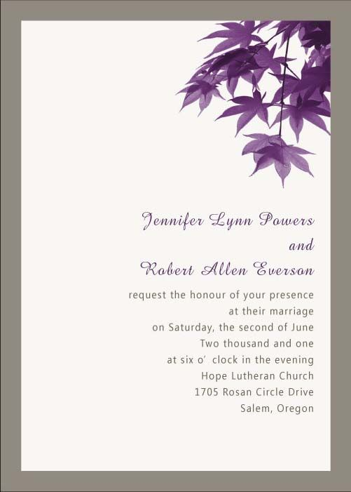modern purple leaves online fall wedding invitation EWI049 Fall - best of invitation card wedding format