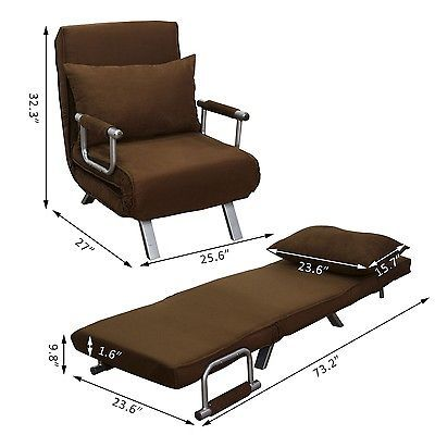 HOMCOM Convertible Lounge Chair Sofa Bed Folding Sleeper Furniture W/Pillow