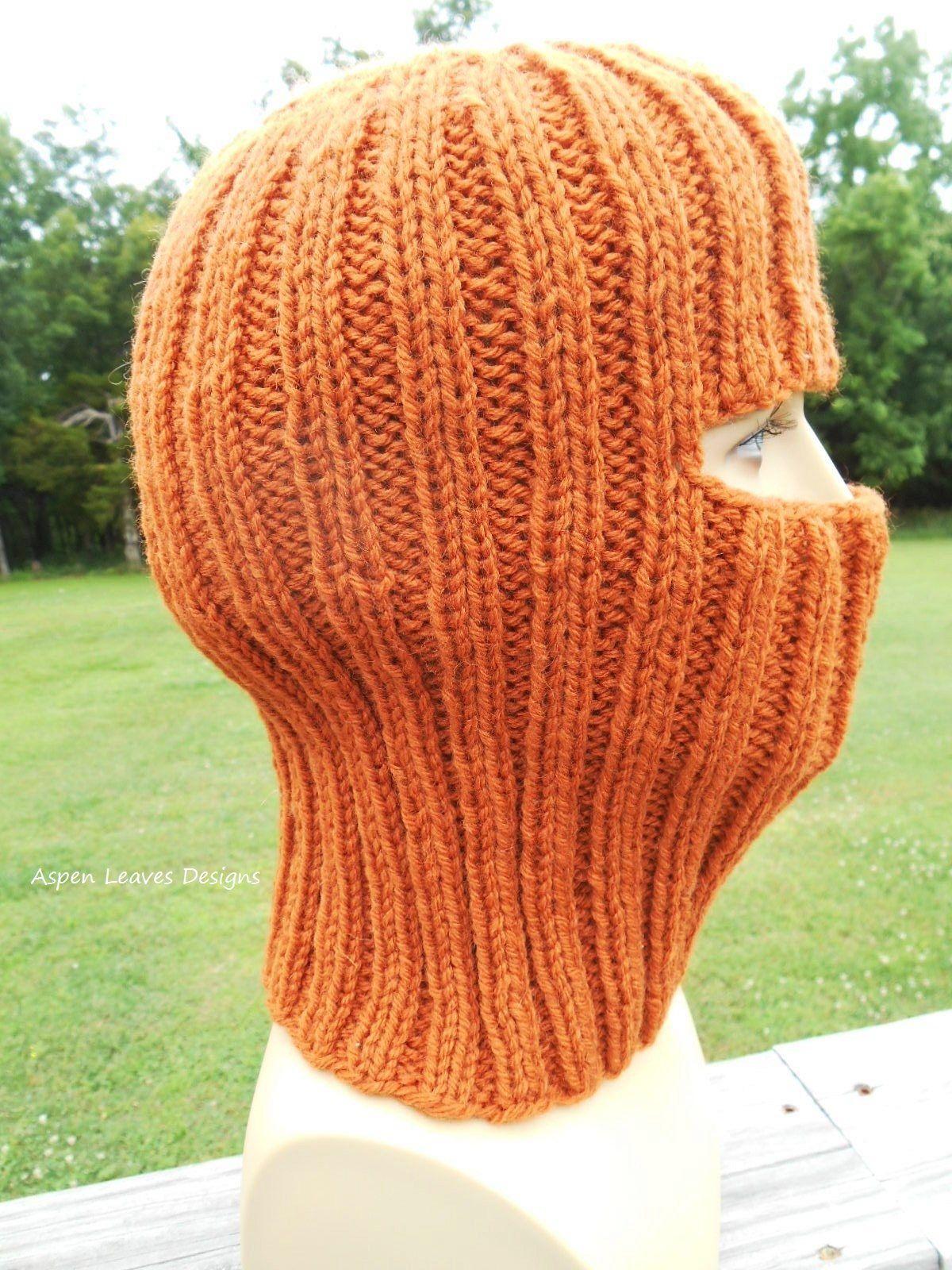 Pumpkin balaclava or ski mask. Hand knit winter mask. | Balaclava ...