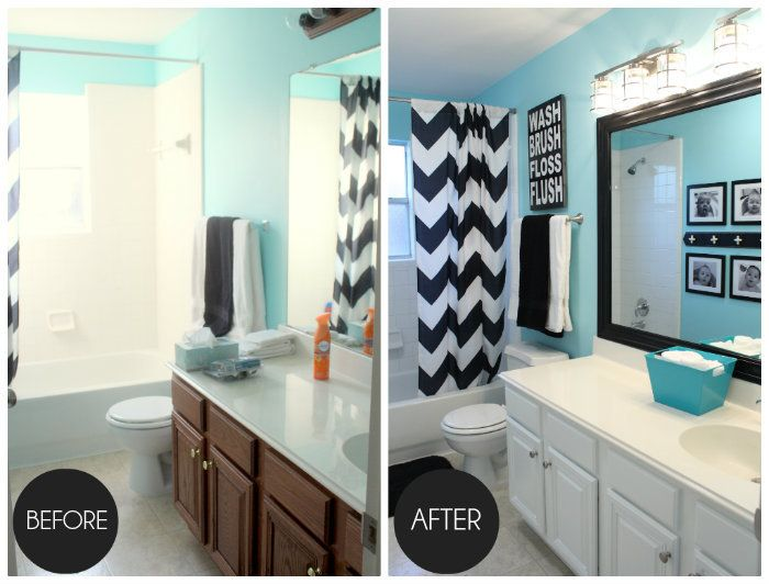 oak painted kitchen cabinets painted white with blue walls before and after - Painted Bathroom Cabinets Before And After
