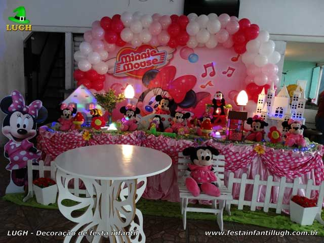 Decoracao Mesa De Tecido Tradicional Tema Minnie Rosa Versao Luxo