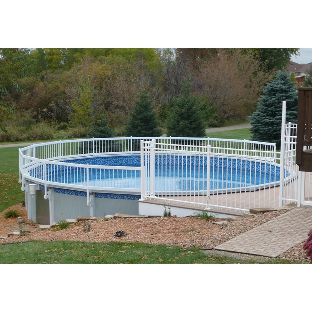 Black Mesh Pool Fence With White Poles Installed In Grass For
