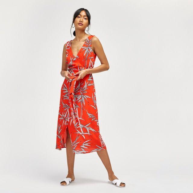 Wrap Detail Bamboo Print Midi Dress - Multi Warehouse gjf7Jo