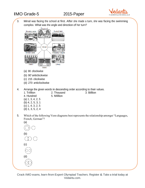Imo Maths Olympiad Class 5 2015 Previous Year Question Paper