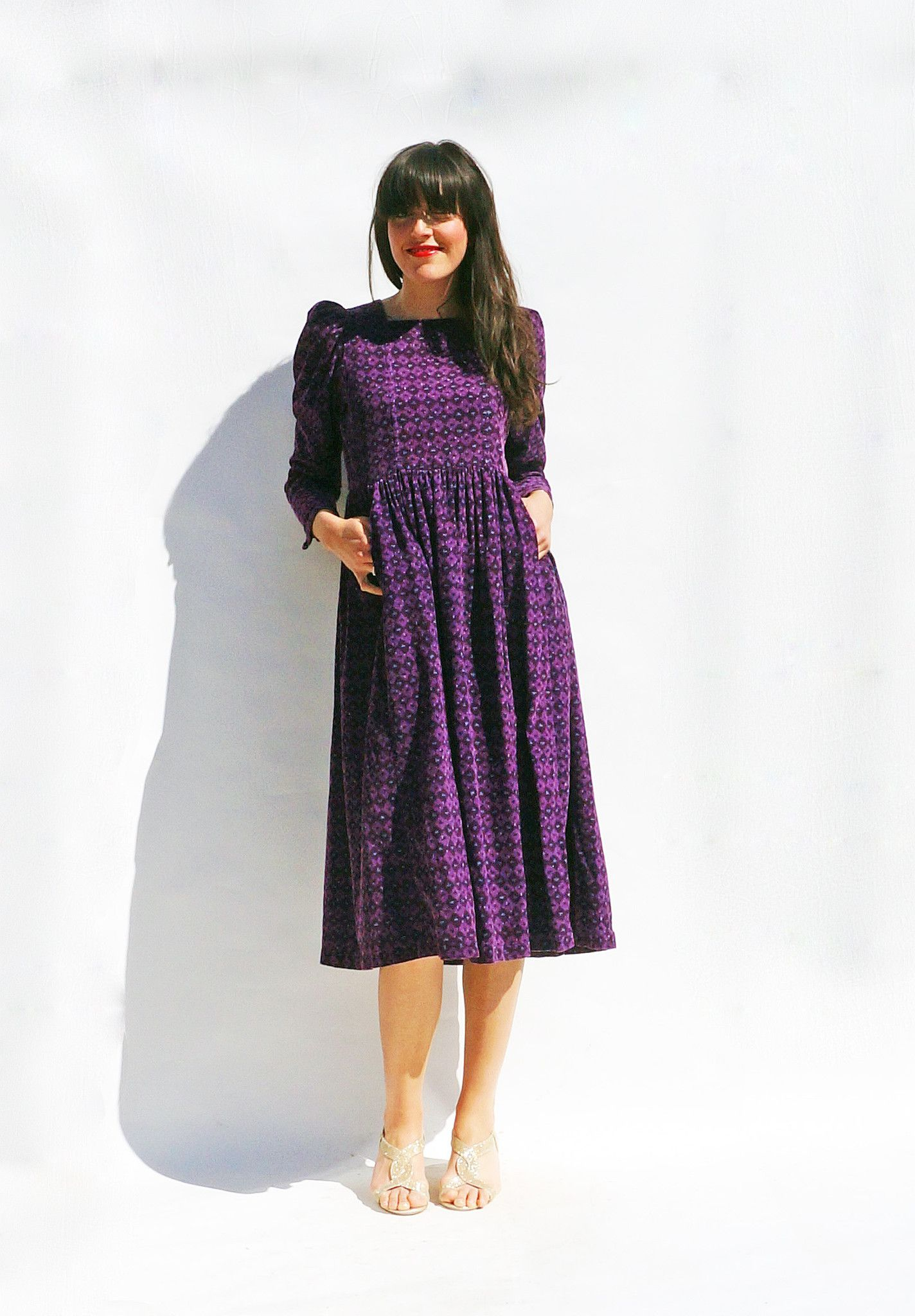 Vintage 80s Laura Ashley Purple Cotton Cord Midi Smock Dress With ...