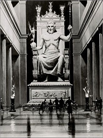 statue of zeus at olympia ruins