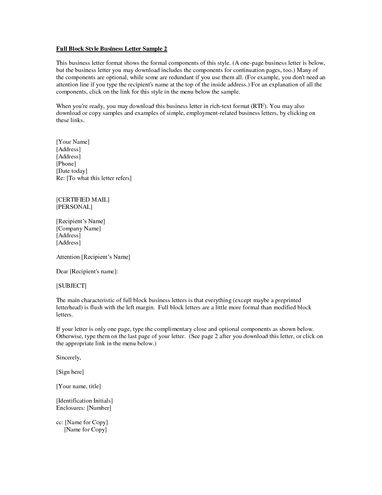 Business Letter Format With Cc And Enclosures Resume Pics And Letter