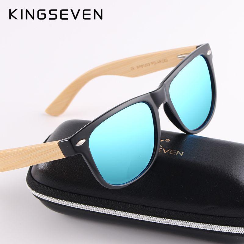 Kingseven New Upgrade Women Bamboo Sunglasses Men Polarized Wood