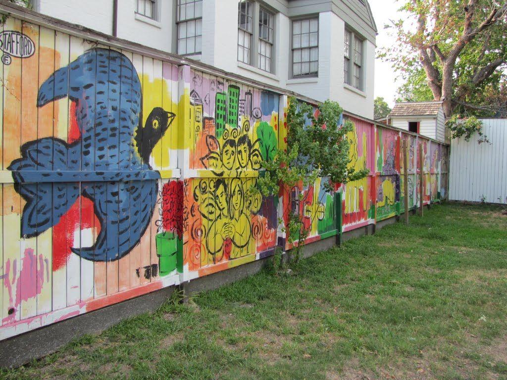 Graffiti art on wood - Mural Like Art On Wood Fence Bordering Ervan Chew Park Houston Tx
