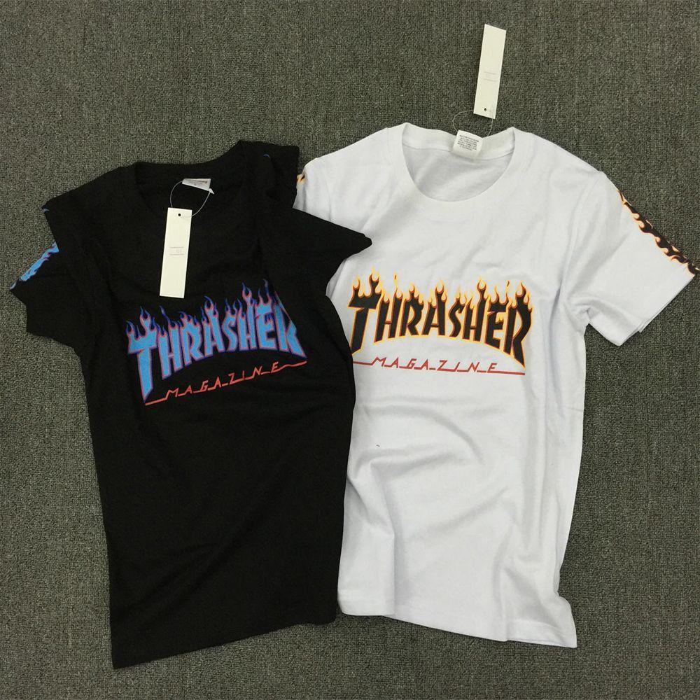 Thrasher skate tshirt x New Brand Men T-shirt Hip Hop Clothing Brand Suprem  T-Shirts skateboard hip hop Flame THRASHER T Shirt - B E S T Online  Marketplace ...