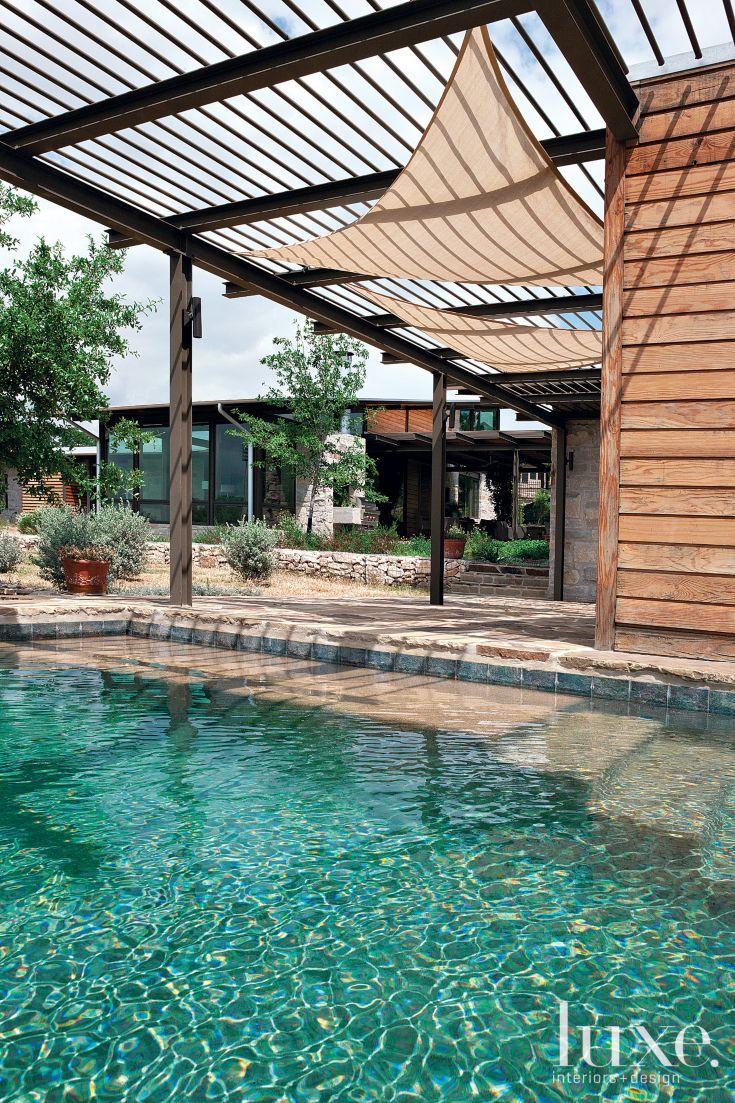 Modern Poolside Deck With Metal Overhang Pool Shade