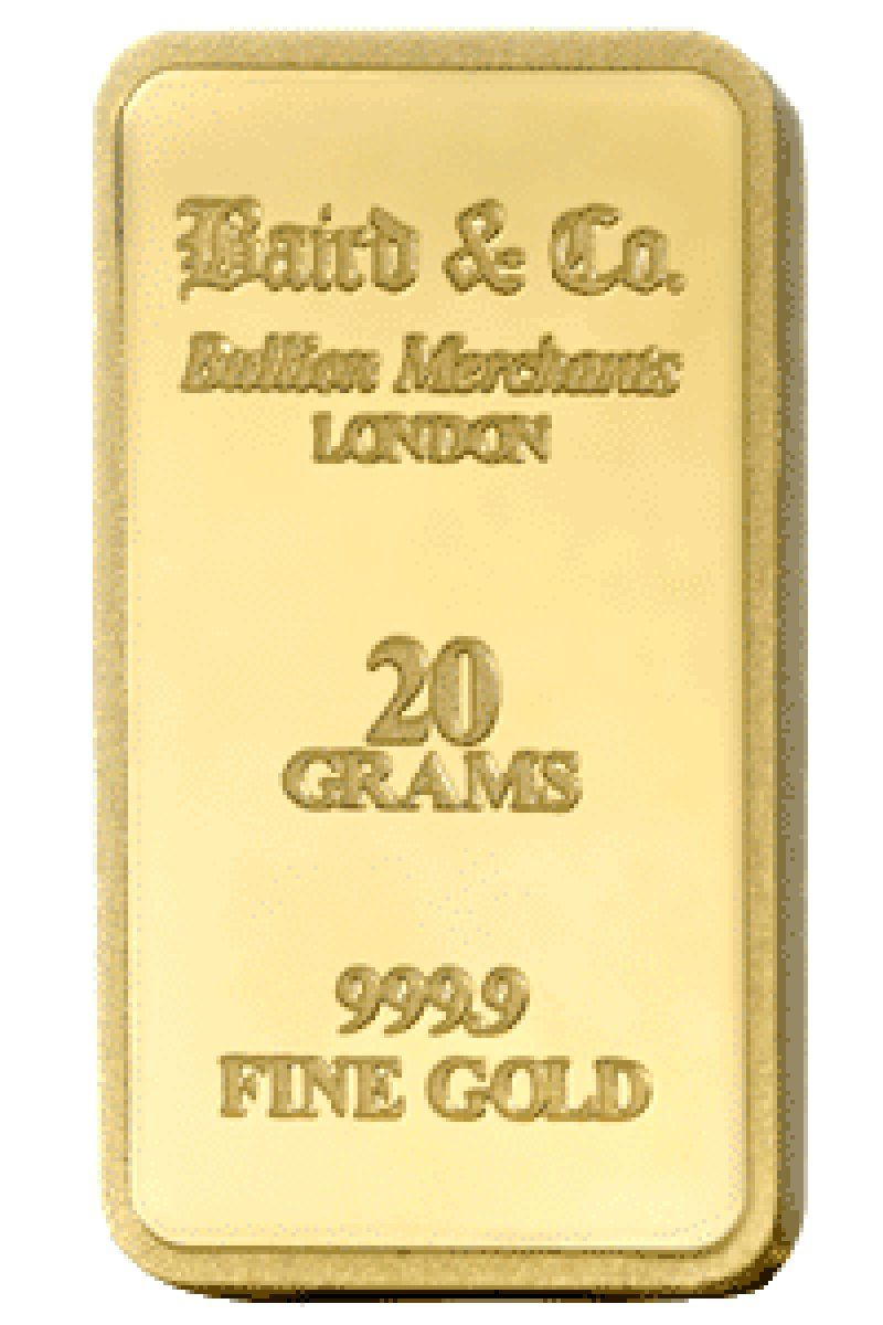 Baird 20 Gram Gold Bar Mint Gold Mint Bar Silver Bullion