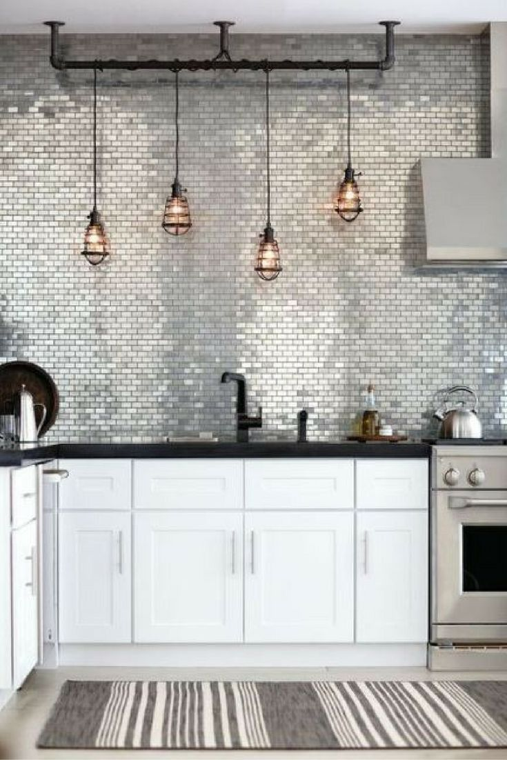 Modern industrial kitchen inspiration metallic silver subway tile modern industrial kitchen inspiration metallic silver subway tile splashback source interior sherpa dailygadgetfo Images
