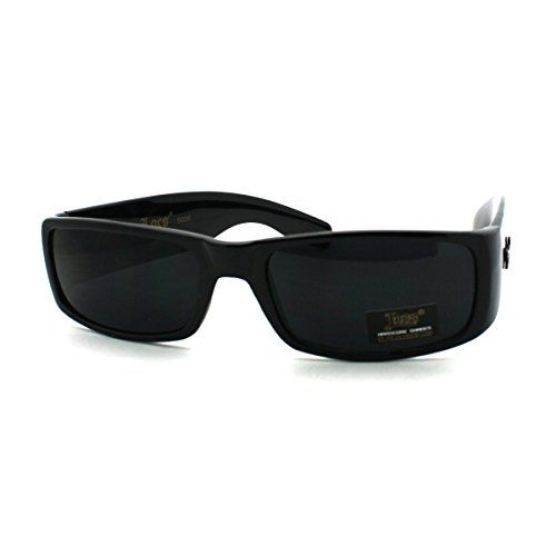 SA106 Tempered Glass Lens Mens Rectangular Metal Rim Sporty Sunglasses