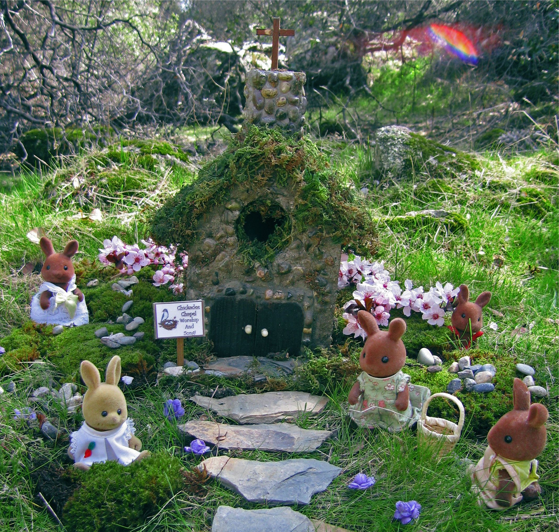 Miniature rabbits go on an Easter egg hunt in front of our