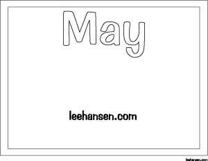May month name letters coloring sheet with space to write