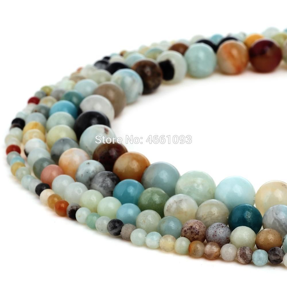 "4mm Round Blue Multi Color Natural Amazonite Gemstone Beads 15/"" Strand"