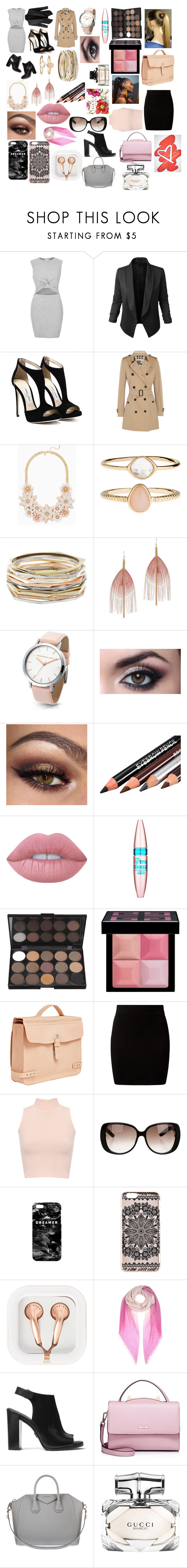 """""""Work"""" by fashionista0333 ❤ liked on Polyvore featuring River Island, LE3NO, Pierre Hardy, Burberry, Accessorize, Kendra Scott, Serefina, Lime Crime, Maybelline and Givenchy"""
