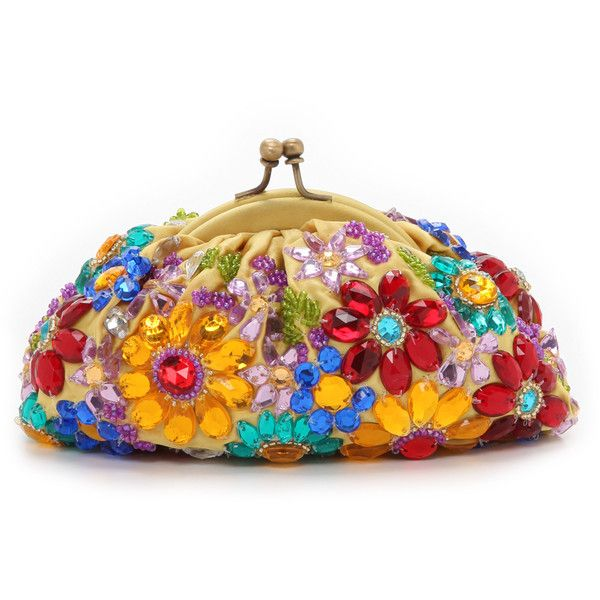 Santi Jeweled Flower Clutch - Multi (1,280 HKD) found on Polyvore featuring bags, handbags, clutches, floral purse, floral print handbags, jeweled handbags, flower purse and chain handle handbags