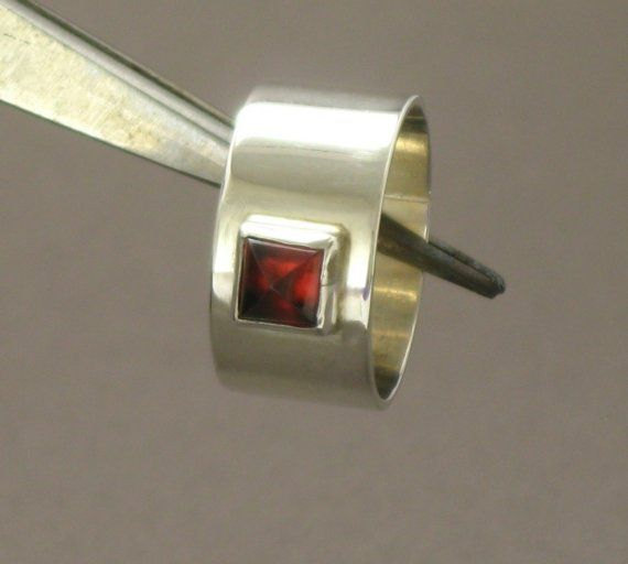Sterling Silver Garnet Ring by ajcdesign on Etsy, $75.00