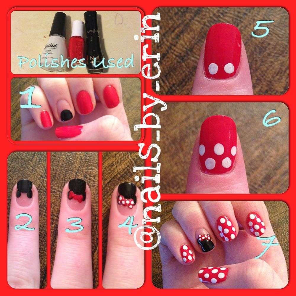 Minnie Mouse nail art tutorial!   Minnie mouse nails, Minnie mouse ...