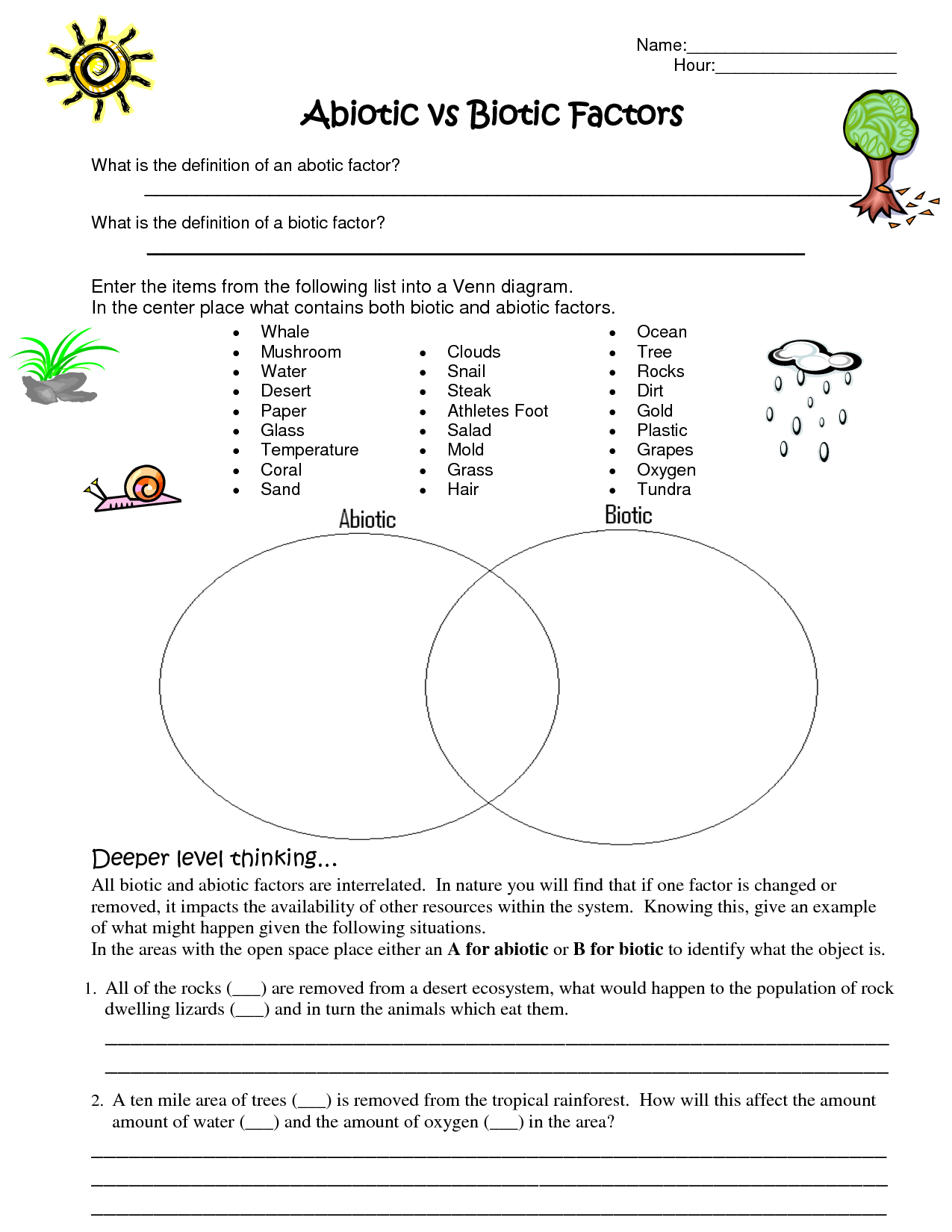 Limiting Factors Worksheet Middle School