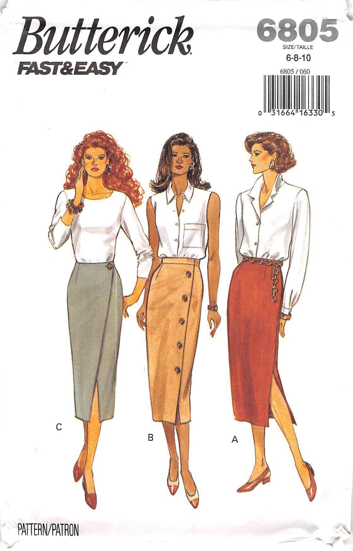 Butterick 6805 - from 1993 - uncut - misses skirt | Moda vestidos ...
