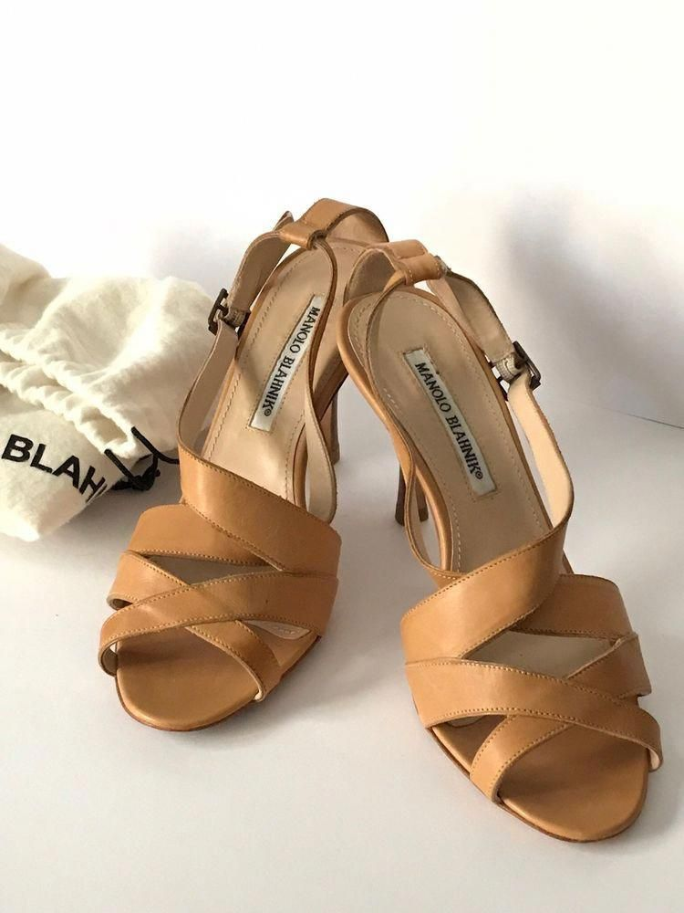 0798f35fbdfd MANOLO BLAHNIK Size 6.5   36.5 Tan Leather Sandals Heels Italy   ManoloBlahnik  Sandals