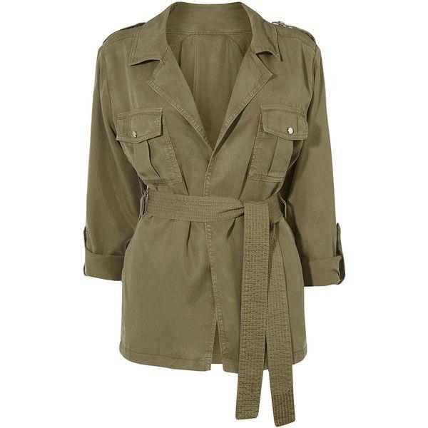 SAFARI JACKET ($235) ❤ liked on Polyvore featuring outerwear, jackets, brown jacket and safari jacket