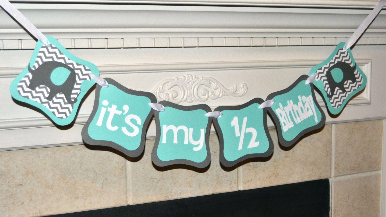 Elephant Its My 1 2 Birthday Banner Blue Gray Chevron Decorations Theme By CelebrateCustomEvent On Etsy