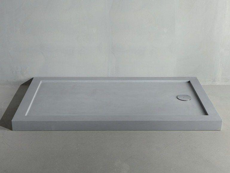 Excellent line concrete by rifra piatto doccia in cemento da appoggio o incasso filo pavimento - Rivestire piatto doccia ...
