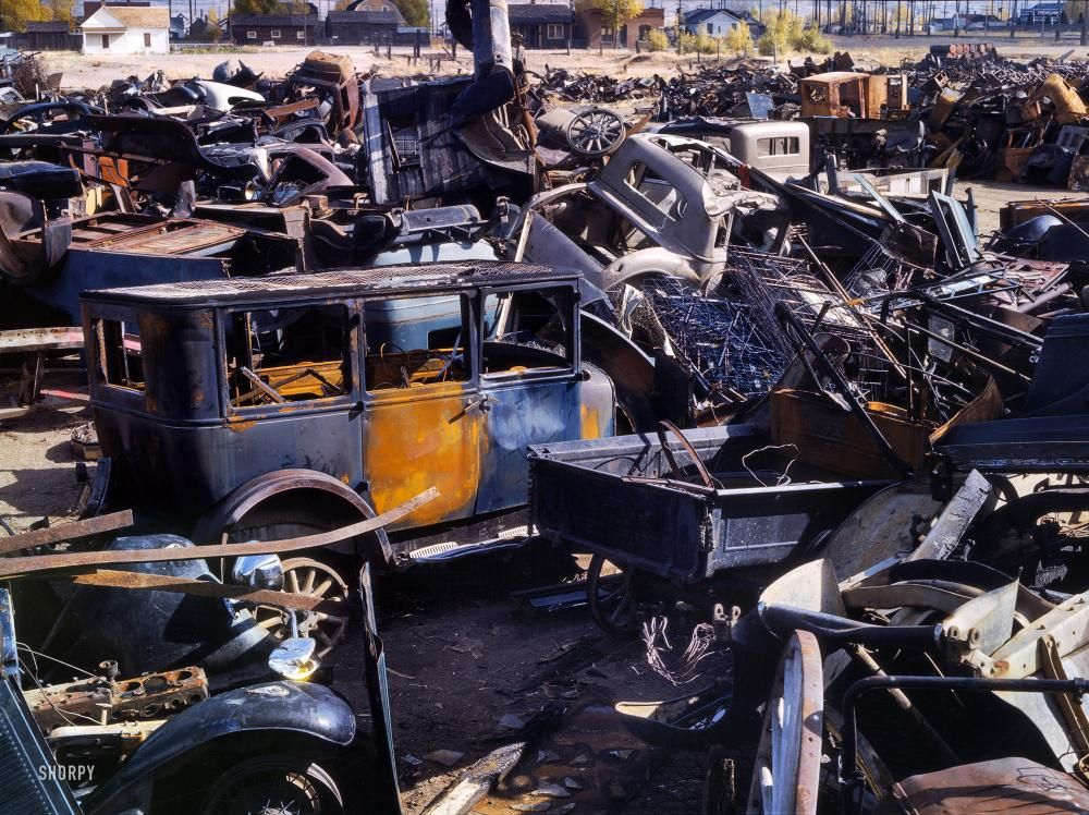 1942 Automotive Junk Yard, Butte, Montana Abandoned cars