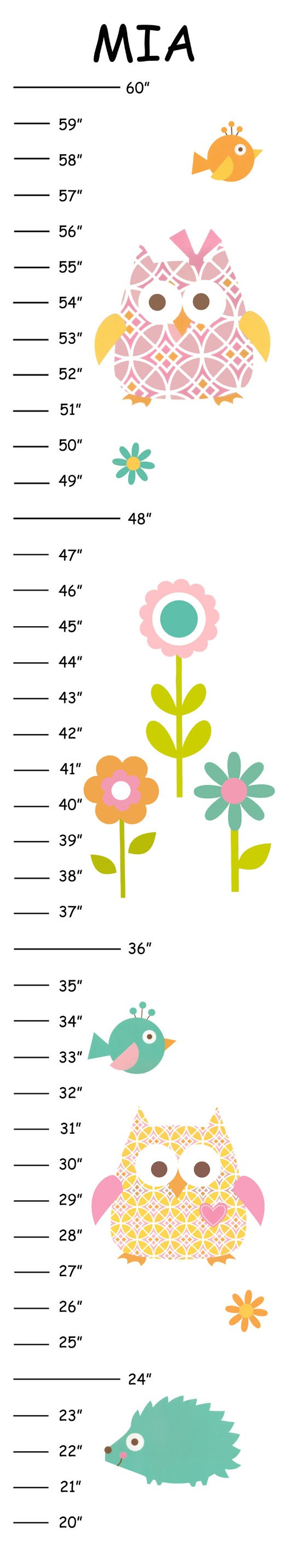 Personalized Happy Tree Owl Canvas Growth Chart By 123growwithme 21 00 Printable Chart Growth Chart Owl Canvas