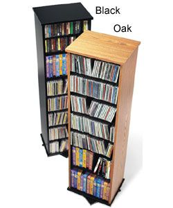 Two Sided Spinning Tower Black Prepac Media Storage