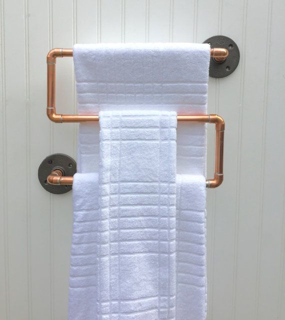 Industrial Copper Pipe Towel Rack Towel Rod Modern By MacAndLexie - Bathroom towel bars and toilet paper holders for bathroom decor ideas