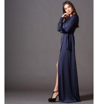 Μάξι Φόρεμα με Κουμπιά και Ζώνη - Μπλε-Navy  baf0c6d62d2