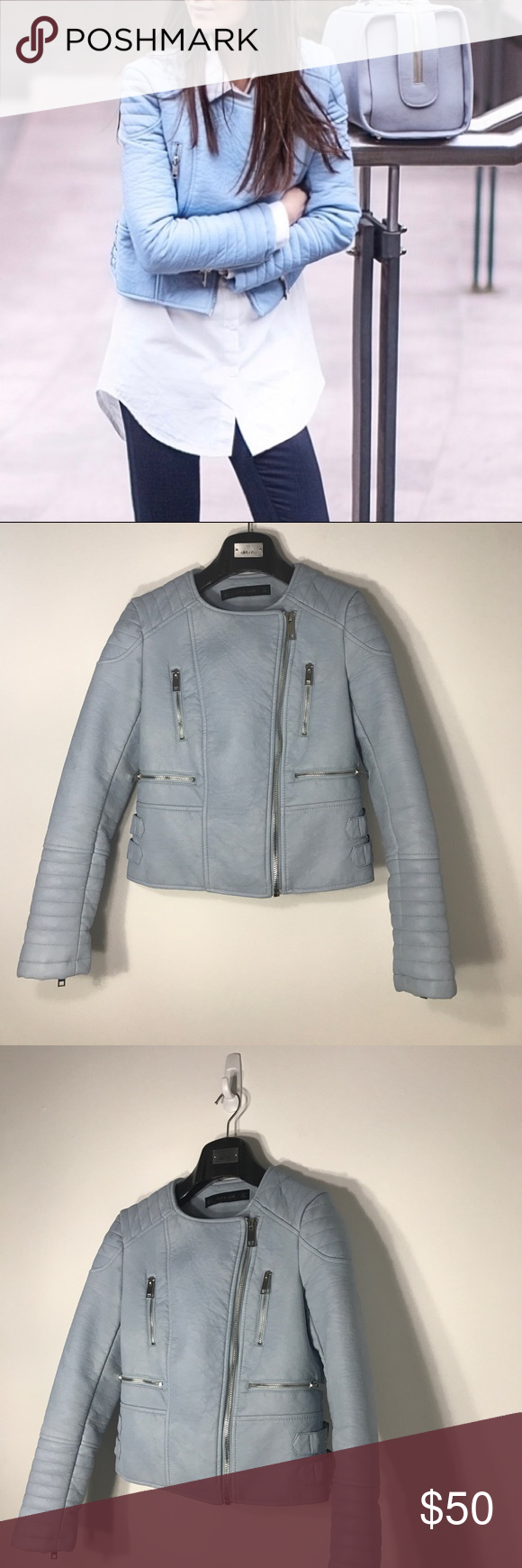 Zara Baby Blue Faux Leather Moto Jacket (With images ...