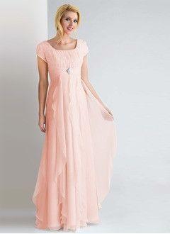 Sheath/Column Square Neckline Floor-Length Chiffon Evening Dress With Ruffle Beading