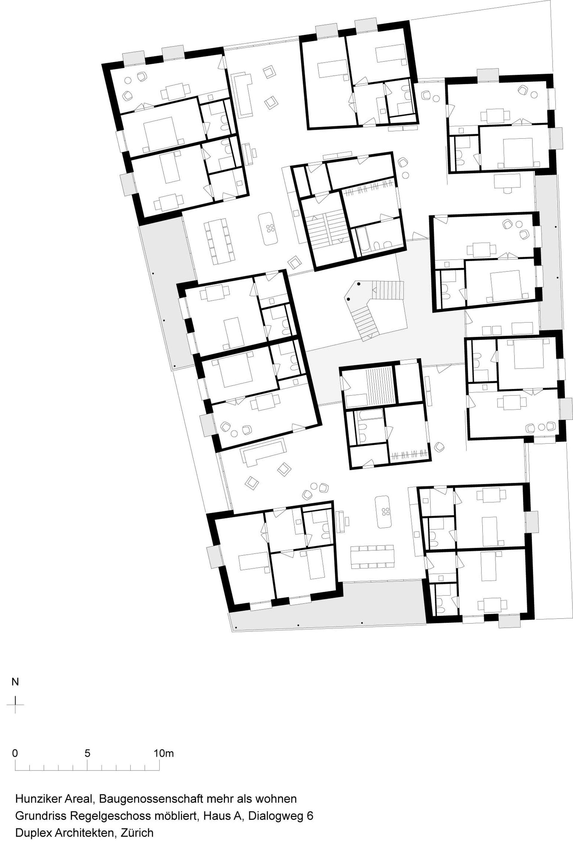 Mehr als wohnen baugenossenschaft z rich haus a duplex for Cluster house plans