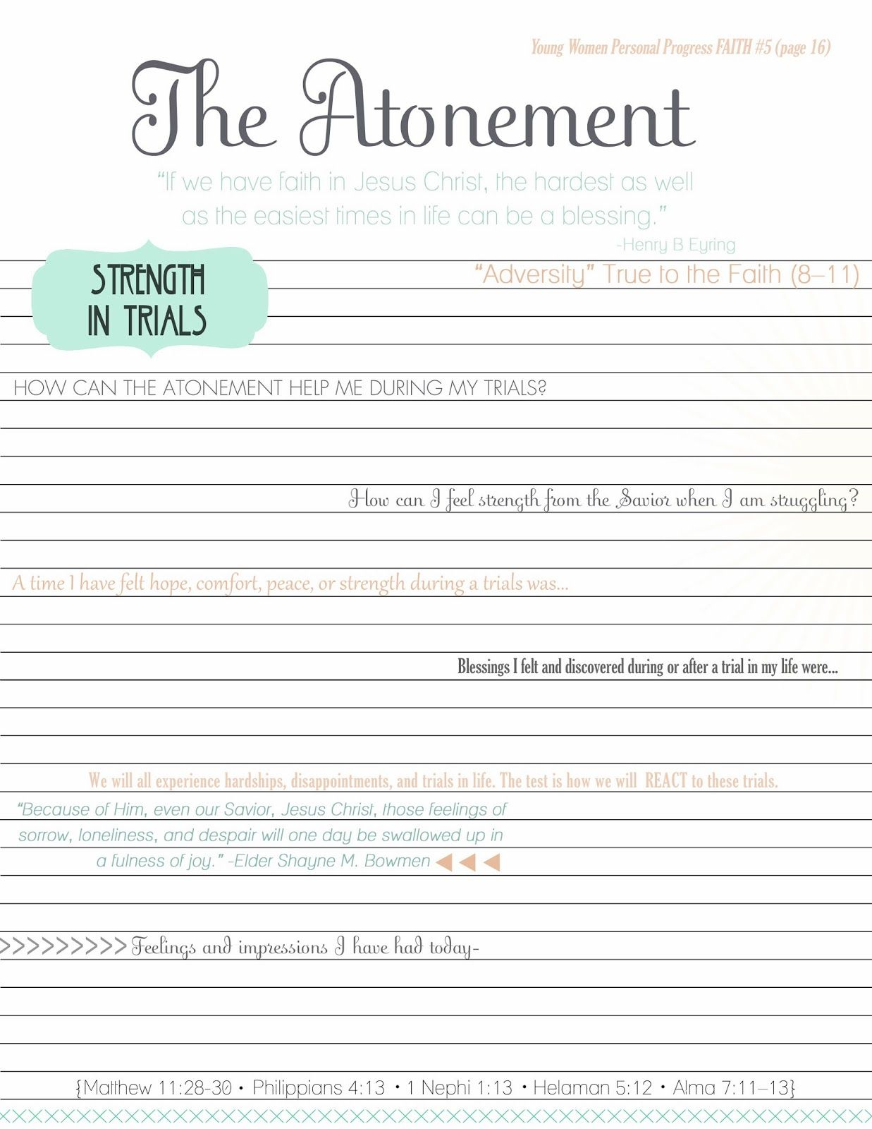 Strength In Trials Worksheet Jpg 1237 1600 Atonement Lesson Lds Lessons