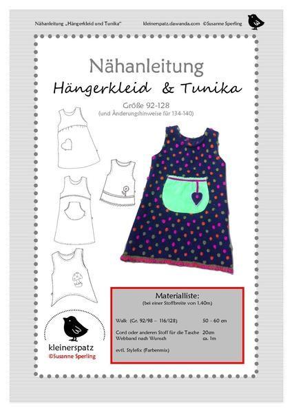 Nähanleitung, ebook, Hängerkleid und Tunika von kleinerspatz auf DaWanda.com