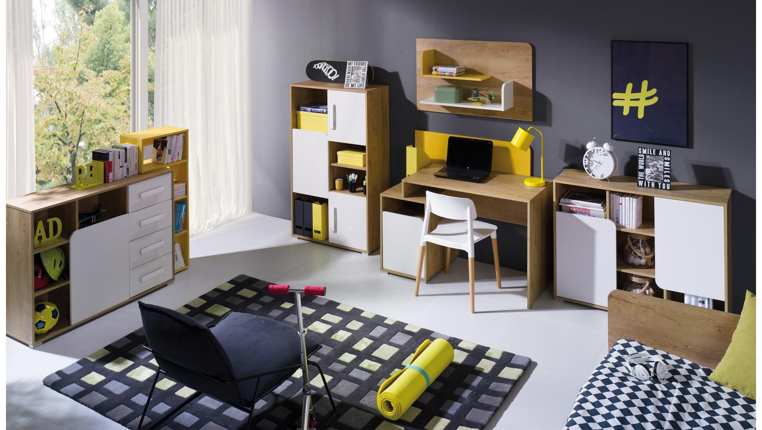 JUSTyou Bruno Kinderzimmer Set Eiche Weiß Gelb furniture