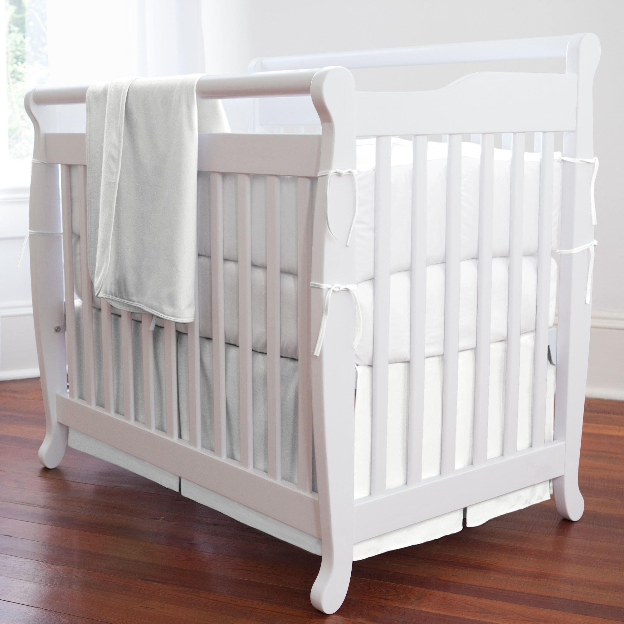 Solid White Mini Crib Bedding Portable crib bedding